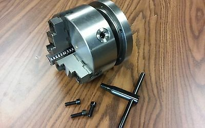 6 3-jaw Self-centering Lathe Chuck Top Bottom Jaws W. 1-12-8 Adapter Plate