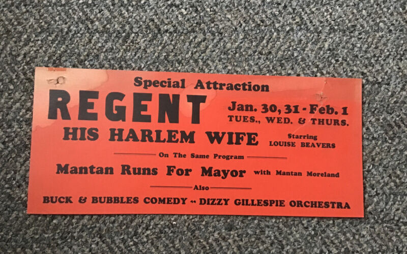 1944 Movie Theater Card His Harlem Wife/ Mantan For Mayor/ Dizzy Gillespie Etc