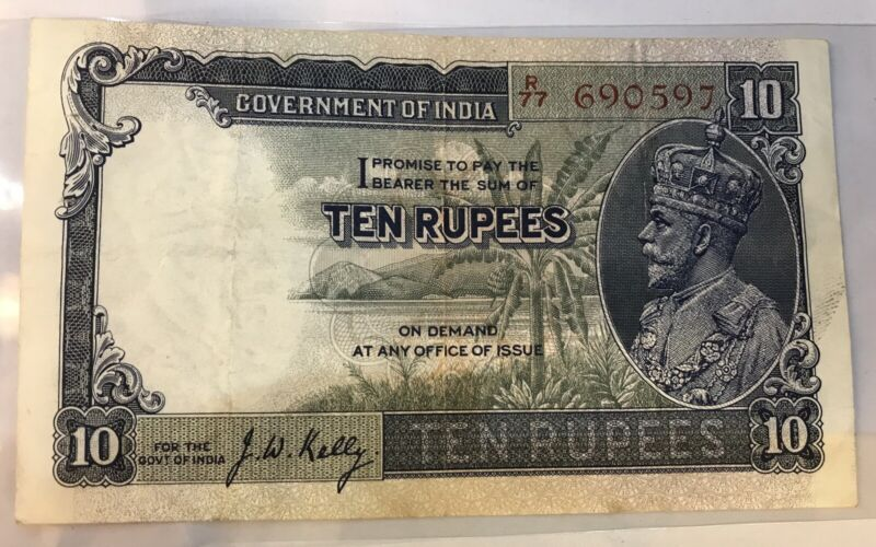 BRITISH INDIA ; RS Ten 10 NOTE PREFIX P SIGN J.W.Kelly EF+ George V ISSUE 1930