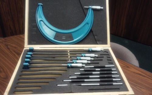 "6-12"" Precision outside micrometer set 0.0001"" carbide tipped 6pcs #425-BLUE"