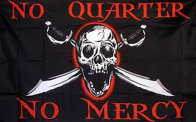 No Quarter No Mercy Flag Banner Black Pirate 3x5 Polyester