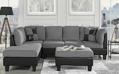 - 3-PC Living Room Set Microfiber Faux Leather Sectional Sofa, Reversible, Grey