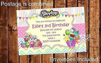 Shopkins Personalised Party Invites Birthday Invitations x12 inc Envelopes