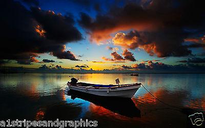 Sun Set Beach boat #2 RV Trailer or Wall Mural Decal Decals Graphics Sticker Art