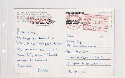 Sri Lanka CARD METER FRANKING AIR LANKA 1984