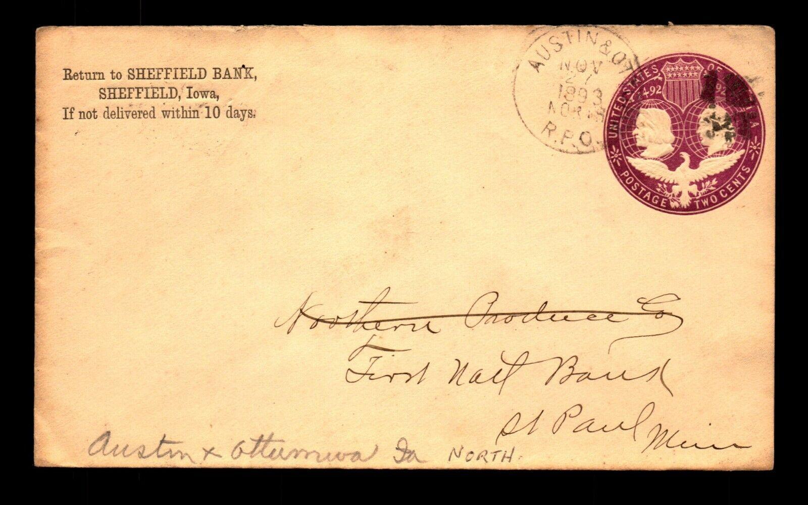 1893 Austin Ottumwa RPO Cover / Sheffield Iowa CC - L19487 - $3.98