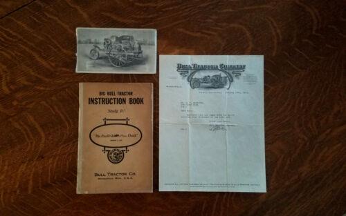 Rare 1916 Big Bull Instruction Manual Book Letterhead Farm Tractor