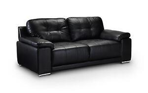Beau Black Leather Sofas 3 U0026 2