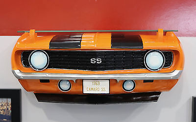 1969 Chevrolet Camaro SS Painted Resin Wall Decor w Glass Shelf: 7580-12