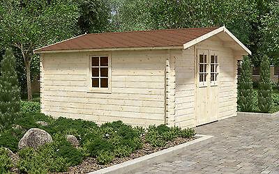 44 mm Gartenhaus ca. 400x400 cm Gerätehaus Blockhaus Holzhaus Holz Holzschuppen