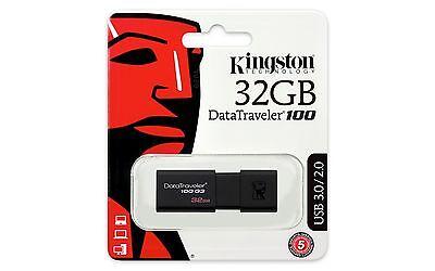 Kingston DataTraveler100 G3 32GB USB 3.0 Flash Stick Pen Memory Drive - Black