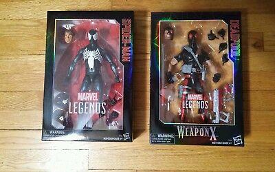 Marvel Legends 12 Inch Spider-Man Symbiote & Weapon X Deadpool Lot Of 2 NiB