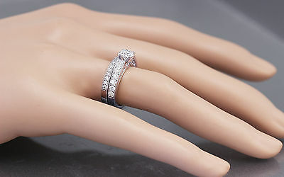 GIA H-SI1 14k White Gold Round Cut Diamond Engagement Ring And Band Deco 1.45ctw 2
