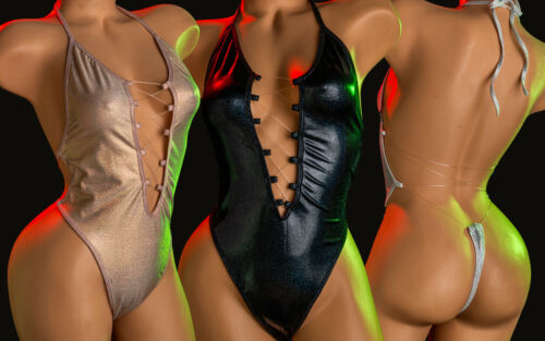 Exotic DanceWear Stripper One Piece Backless Front Open Criss Cross Body Suit