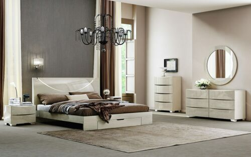 Nola - KING & QUEEN SIZE MODERN BEIGE GLOSSY BEDROOM SET 5 PCS
