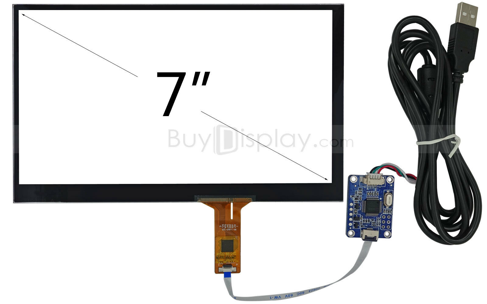"""7"""" inch USB Capacitive Touch Panel Screen+USB Controller Boa"""