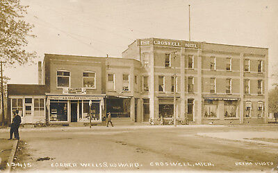 Croswell MI Croswell Hotel 1913 Real photo postcard  Pesha RPPC Michigan