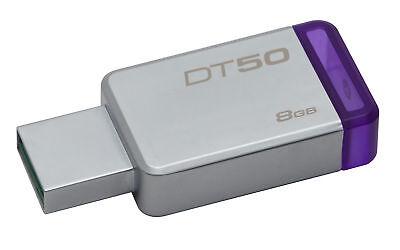 8GB Kingston DataTraveler 50 USB3.0 Flash Drive Purple/Silve