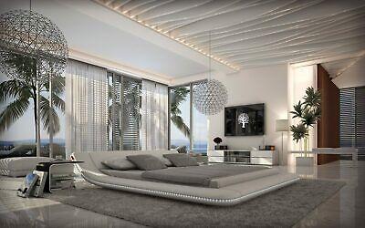 Polsterbett Luxus Bett CUSTO LED Designerbett mit LED Beleuchtung