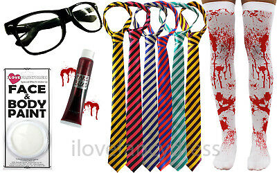 ZOMBIE SCHOOL GIRL HALLOWEEN FANCY DRESS STOCKINGS TIE GLASSES BLOOD FACE PAINT