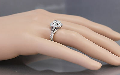 GIA G-SI1 14K WHITE GOLD CUSHION CUT DIAMOND ENGAGEMENT RING DECO 1.70CTW 9