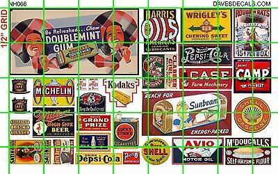 NH066 DAVE'S 1/2 Set N SCALE MIXED MID CENTURY ADVERTISING SIGNAGE BILLBOARD