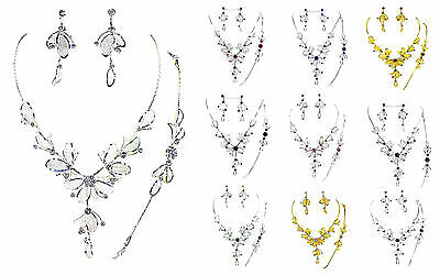 - Crystal Rhinestone Flower  Mesh Leaf Necklace, Bracelet & Earring Bridal, Prom