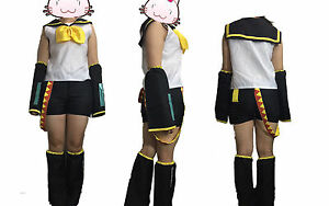 VOCALOID 2 Rin Kagamine Cosplay Halloween Costume Complete Set Size M