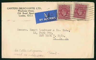 Great Britain Stationery Cut Outs 1948 Airmail Cover to US New York