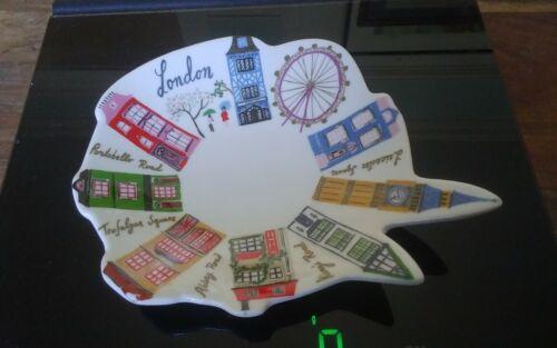 Rare Anthropologie Danielle Kroll London landmarks porcelain trinket pin dish