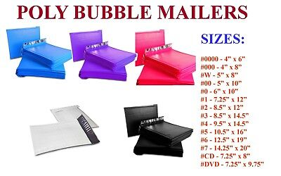 25-500 Poly Bubble Mailers 000 00 0 Cd 1 2 3 4 5 6 7 Padded Envelope