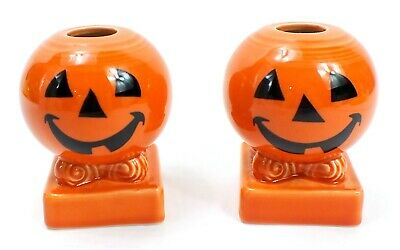 FIESTAWARE Persimmon HALLOWEEN Happy Pumpkin HLC Round Candlestick Holders Lot