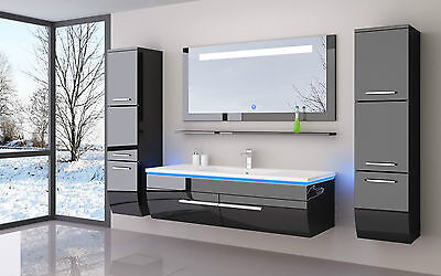 120 cm Badmöbel Set Schwarz Weiss Hochglanz LED Badezimmermöbel Komplett Bad