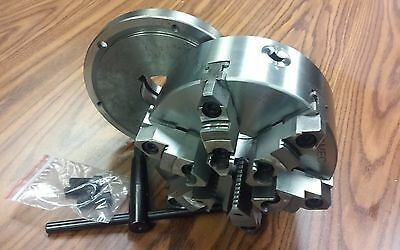 8 6-jaw Self-centering Lathe Chuck W. Topbottom Jaws L00 Adapter Back Plate
