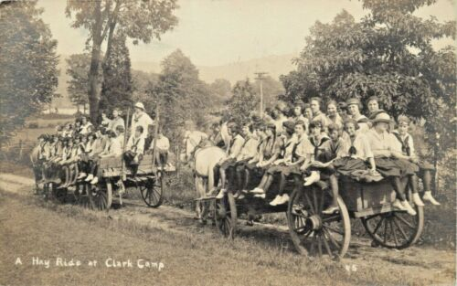 On A Hayride At Andree Clark Girl Scout Camp, Briarcliff Manor, New York NY RPPC