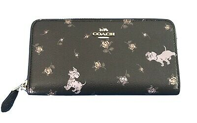 NWT Coach X Disney Accordion zip Wallet Dalmatian Pups Floral Black!