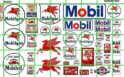 NH001 DAVE'S DECALS 1/2 Set N SCALE GAS/OIL FILLING STATION SIGN MOBIL