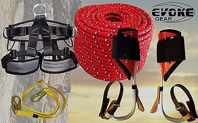 Tree Climbing Spike Set Aluminum Pole Spurs Climbers Harness 12 Rope