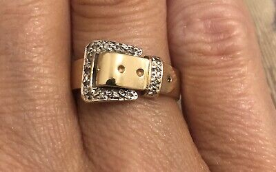 14k Gold Buckle Ring - 14K GENUINE GOLD & DIAMOND BUCKLE RING SIZE 5