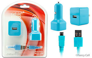 NEW 3 in 1 Micro USB Home Wall Travel+ Car Charger Adaptors + Data Cable Combo