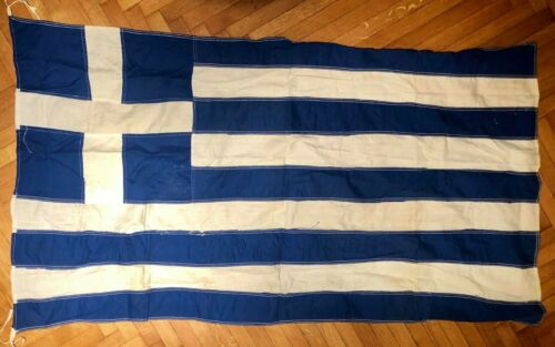 Vintage Greece Greek Cotton Flag 80x135cm, Very Old!