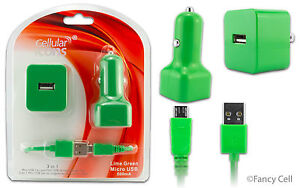 NEW Micro USB Home Wall Travel+ Car Charger Adaptors + Data Cable Combo 500mAh