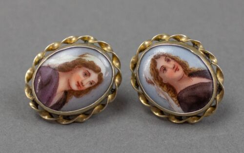 Antique Victorian Cameo Portrait Hand Painted Porcelain Sterling Silver Earrings