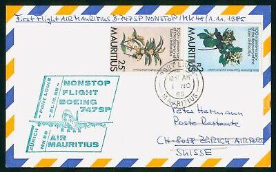 MayfairStamps Mauritius 1985 to Zurich Switzerland Aviation Air Mauritius Boeing