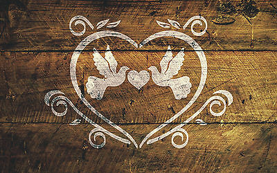 A4 Love Birds Stencil Shabby Chic Furniture Fabric Ornate French Vintage MYLAR