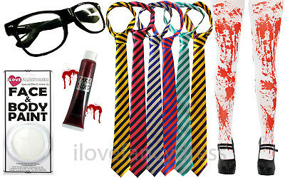 ZOMBIE SCHOOL GIRL HALLOWEEN FANCY DRESS KIT TIGHTS TIE GLASSES BLOOD FACE PAINT