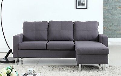 Modern Small Space Reversible Linen Fabric Sectional Sofa in Color Light Grey
