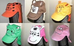 Baby-Sun-Hat-with-Animal-Character-Face-and-Protective-neck-Flap-2-6-Years