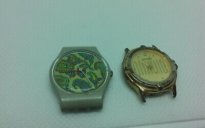 Vintage 755 SWATCH swiss watch and GUCCI Japan movt watch broken watch lot as is
