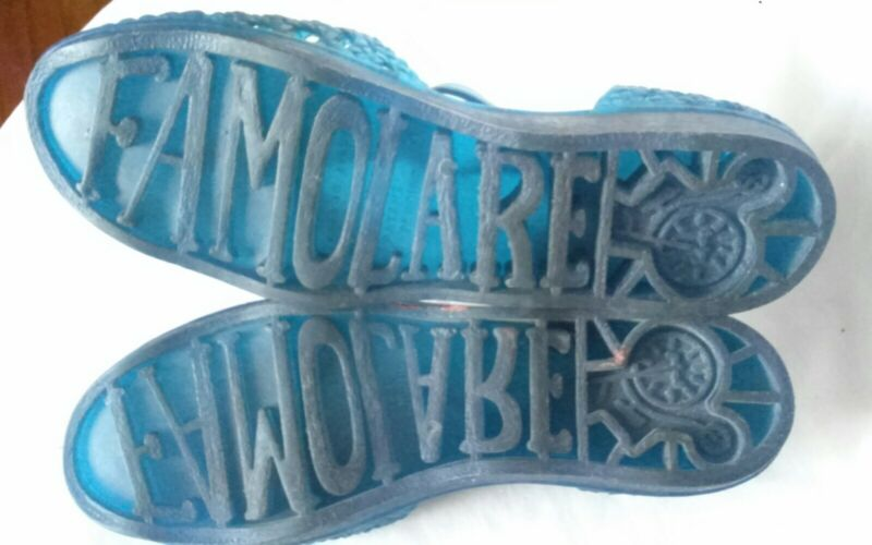 Vtg 1970s FAMOLARE 8.5 - 9 JELLIES SANDALS BLUE ORIG Italy SHOES T-STRAP Women